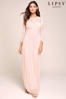 Lipsy Elsa Lace Long Sleeve Mesh Maxi Dress
