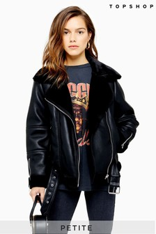 Topshop Petite Leather Look Biker Jacket