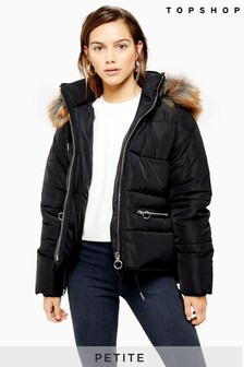 Topshop Petite Faux Fur Hooded Padded Jacket