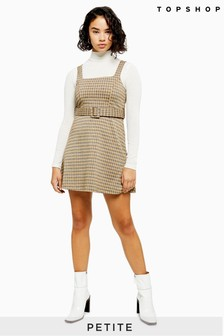 Topshop Petite Jacquard Belted Pinafore Dress