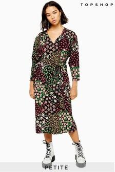 Topshop Petite Floral Tie Smock Dress