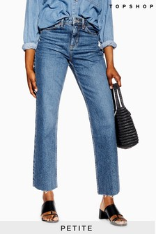 "Topshop Petite Straight Jeans 28"" Leg"