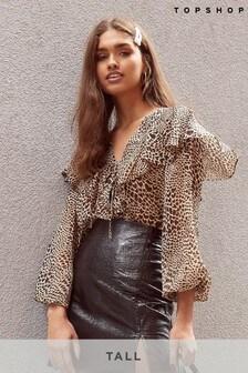 Topshop Tall Leopard Heart Print Blouse