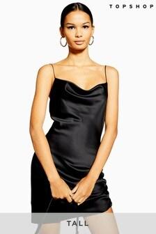 Topshop Tall Ruched Mini Slip Dress