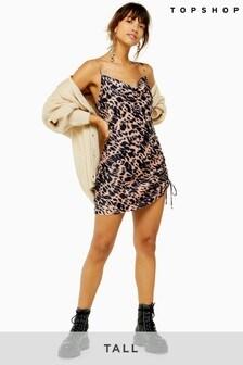 Topshop Tall Animal Ruched Slip Dress