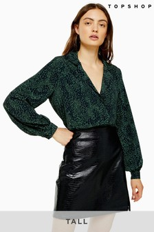 Topshop Tall Crocodile PU Split Mini Skirt
