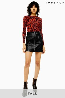 Topshop Tall PU Hardware Mini Skirt