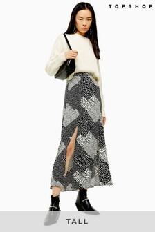 Topshop Tall Spot Midi Skirt