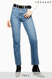 "Topshop Tall Raw Hem Straight Jeans 36"" Leg"