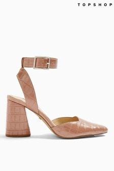 Topshop Gaze Block Ankle Strap Heel Shoe