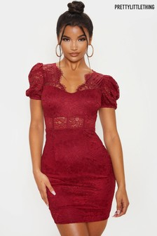 PrettyLittleThing Lace Puff Sleeve Mini Dress
