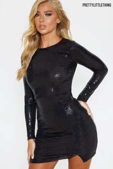 PrettyLittleThing Sequin Long Sleeve Dress