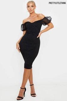 PrettyLittleThing Organza Puff Sleeve Bardot Bodycon Dress