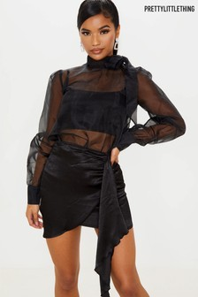 PrettyLittleThing Pussy Bow Organza Blouse