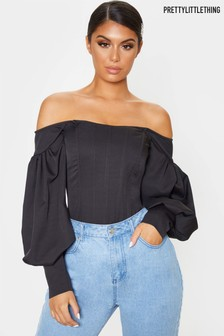 PrettyLittleThing Bardot Balloon Sleeve Top