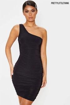 PrettyLittleThing Slinky One Shoulder Ruched Bodycon Dress