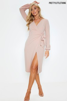 PrettyLittleThing Balloon Sleeve Wrap Midi Dress