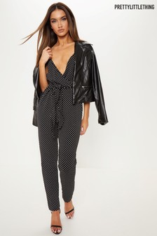 PrettyLittleThing Polka Dot Strappy Jumpsuit