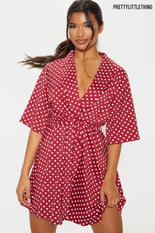 PrettyLittleThing Polka Dot Tea Dress