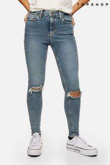 "Topshop Greencast Ripped Jamie Jeans 32"" Leg"