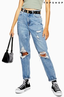 "Topshop Double Button Mom Jeans 30"" Leg"