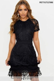 PrettyLittleThing Petite Frill Hem Lace Bodycon Dress