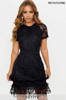 PrettyLittleThing Petite Frill Hem Lace Bodycon Dress