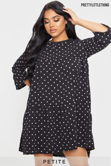 PrettyLittleThing Petite Polka Dot Smock Dress