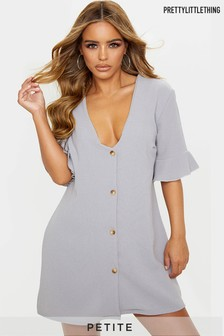 PrettyLittleThing Petite Button Front Shirt Dress