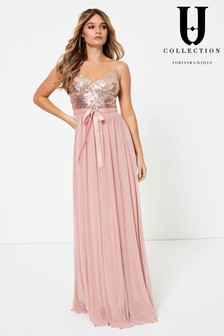 Forever Unique Bow Detail Embellished Top Maxi Dress
