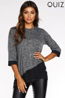 Quiz Light Knit Contrast Hem Necklace Top