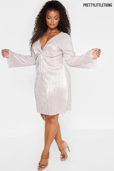 PrettyLittleThing Curve Plisse Long Sleeve Dress