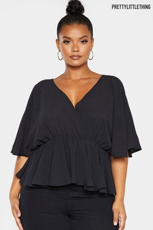 PrettyLittleThing Curve Angel Sleeve Wrap Top