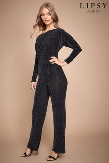 Lipsy Glitter Slash Neck Jumpsuit