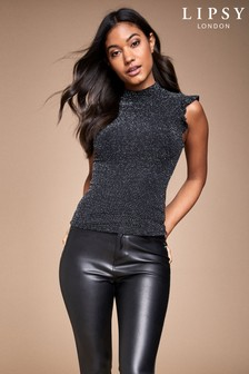 Lipsy Turtle Neck Frill Sleeve Top