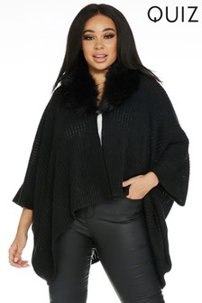 Quiz Curve Faux Fur Collar Knit Cape