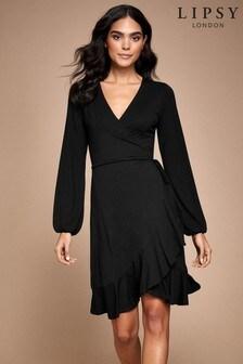 Lipsy Long Sleeve Frill Wrap Dress