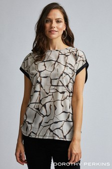Dorothy Perkins Woven Front Jersey Back T-Shirt