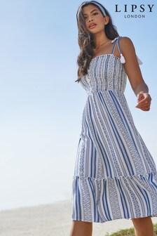 Lipsy Stripe Button Dress