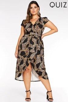 Quiz Curve Leopard Chain Print Wrap Front Midi Dress
