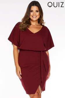 Quiz Curve V neck Batwing Wrap Front Tie Belt Dress