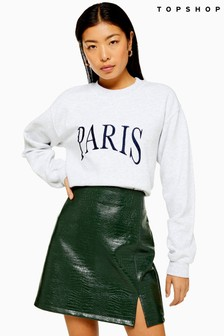 Topshop Paris Embroidered Sweat