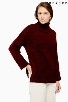 Topshop Deep Hem Funnel Neck Jumper