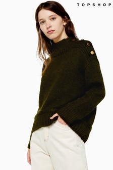 Topshop Knitted Button Shoulder Jumper