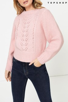 Topshop Knitted Pointelle Crop Jumper