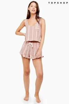 Topshop Frill Stripe Pyjama Shorts