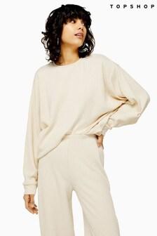 Topshop Loungewear Ribbed Slouch Sweatshirt