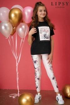 Lipsy Girl Embellished Top And Printed Legging Set