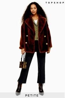 Topshop Petite Velvet Faux Fur Coat