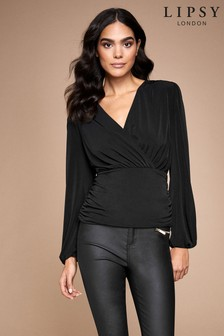Lipsy Ruched Wrap Long Sleeve Top
